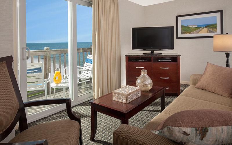 Loft Suite - Ocean View - Two Queens With Sleeper Sofa And Kitchenette in Ocean Mist Beach Hotel & Suites, South Yarmouth