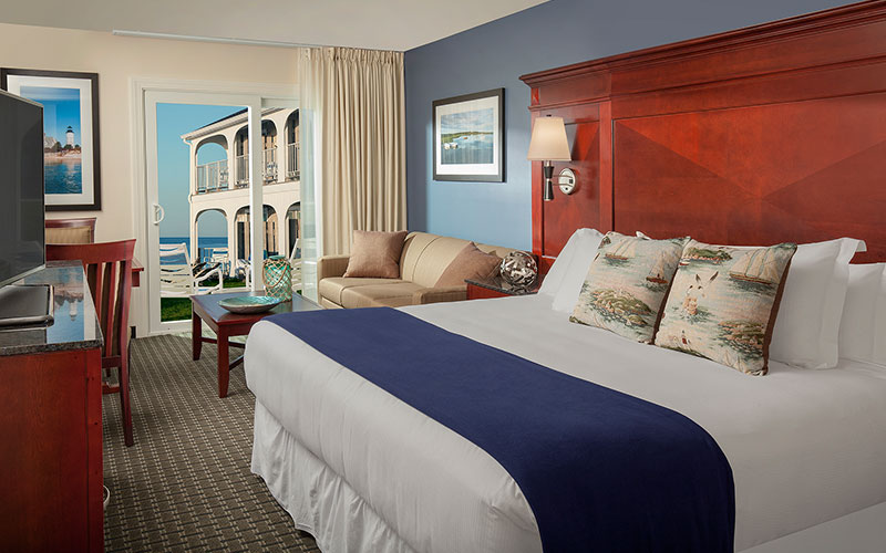 Partial Ocean View King with Sleeper Sofa in Ocean Mist Beach Hotel & Suites, South Yarmouth
